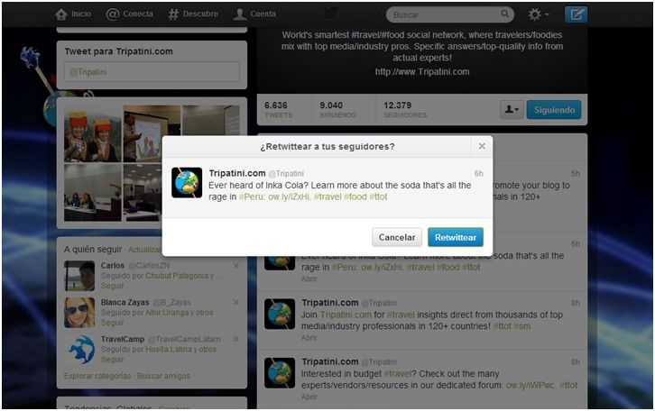 Mención en Twitter por Tripatini.com. Mention on Twitter by Tripatini.com.